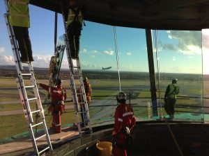 Tex ATC installing air traffic control tower glass, Manchester