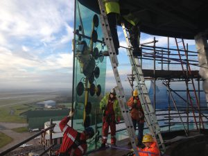 Tex ATC installing air traffic control tower glass