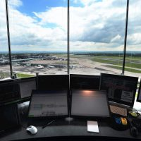 Inside Manchester air traffic control tower, glass by Tex ATC