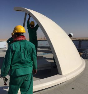 Tex ATC air traffic control room, roof dome installation