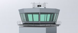A CAD rendering of Tex ATC's prefabricated air traffic control tower